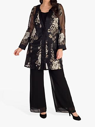 Chesca Floral Contrast Satin Trim Coat, Black/Beige
