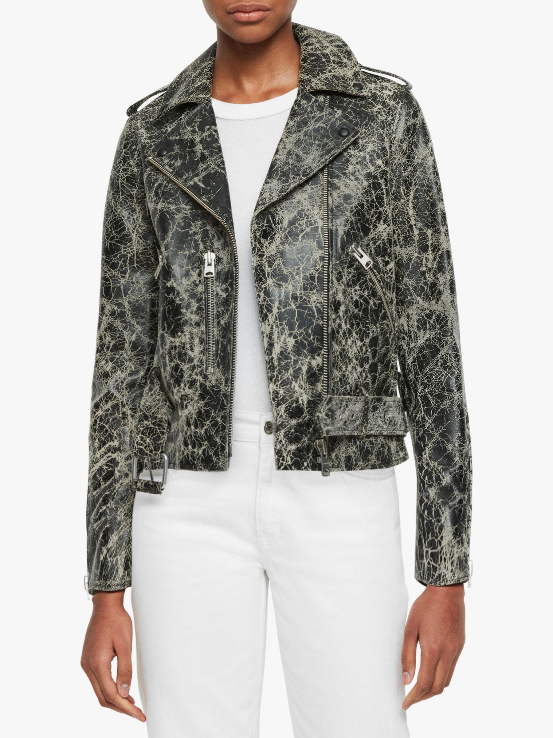 AllSaints AllSaints Balfern Rift Leather Biker Jacket, Black/White