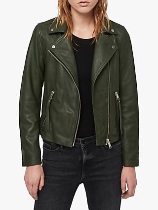 AllSaints Dalby Leather Biker Jacket, Dark Green