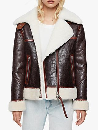 AllSaints Elder Shearling Aviator Jacket, Chocolate/Mahogany