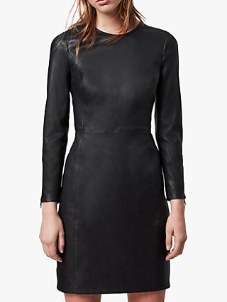 AllSaints Cowling Leather Mini Dress, Black