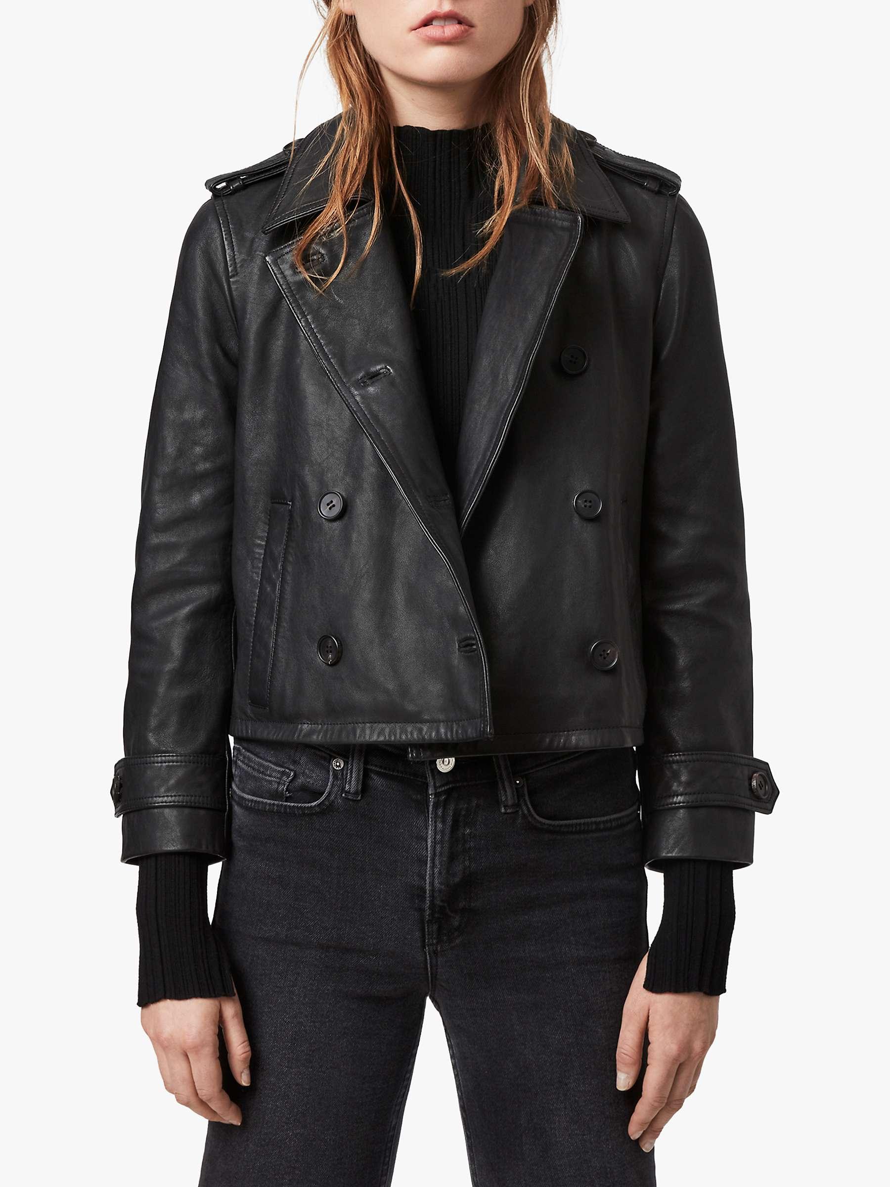 All Saints Trae Leather Jacket, Black by John Lewis