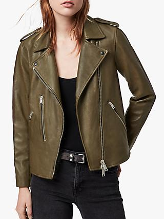 AllSaints Elva Leather Biker Jacket, Olive Green