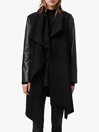 AllSaints Monument Lea Leather Sleeves Coat, Black