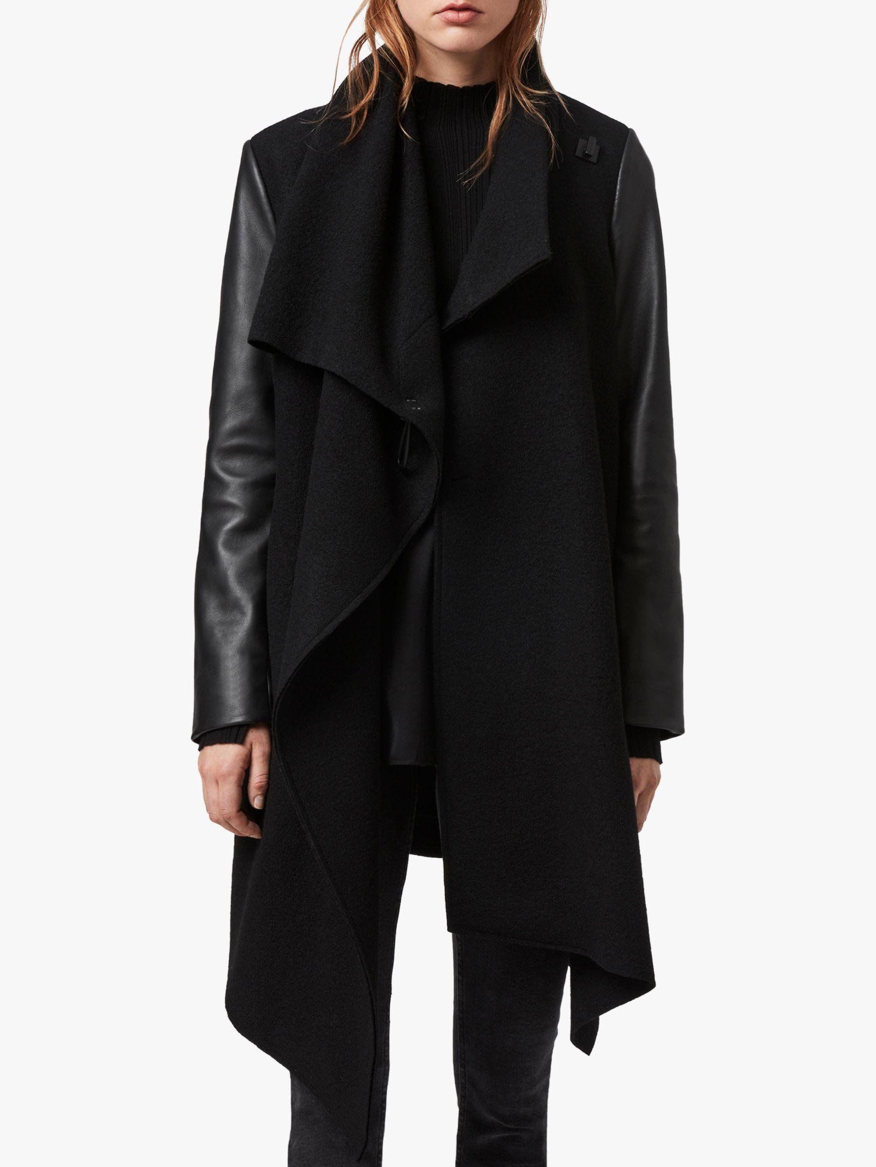 AllSaints AllSaints Monument Lea Leather Sleeves Coat, Black
