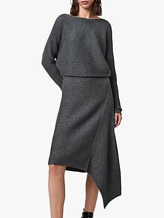 AllSaints Eva Metal Dress, Charcoal Grey
