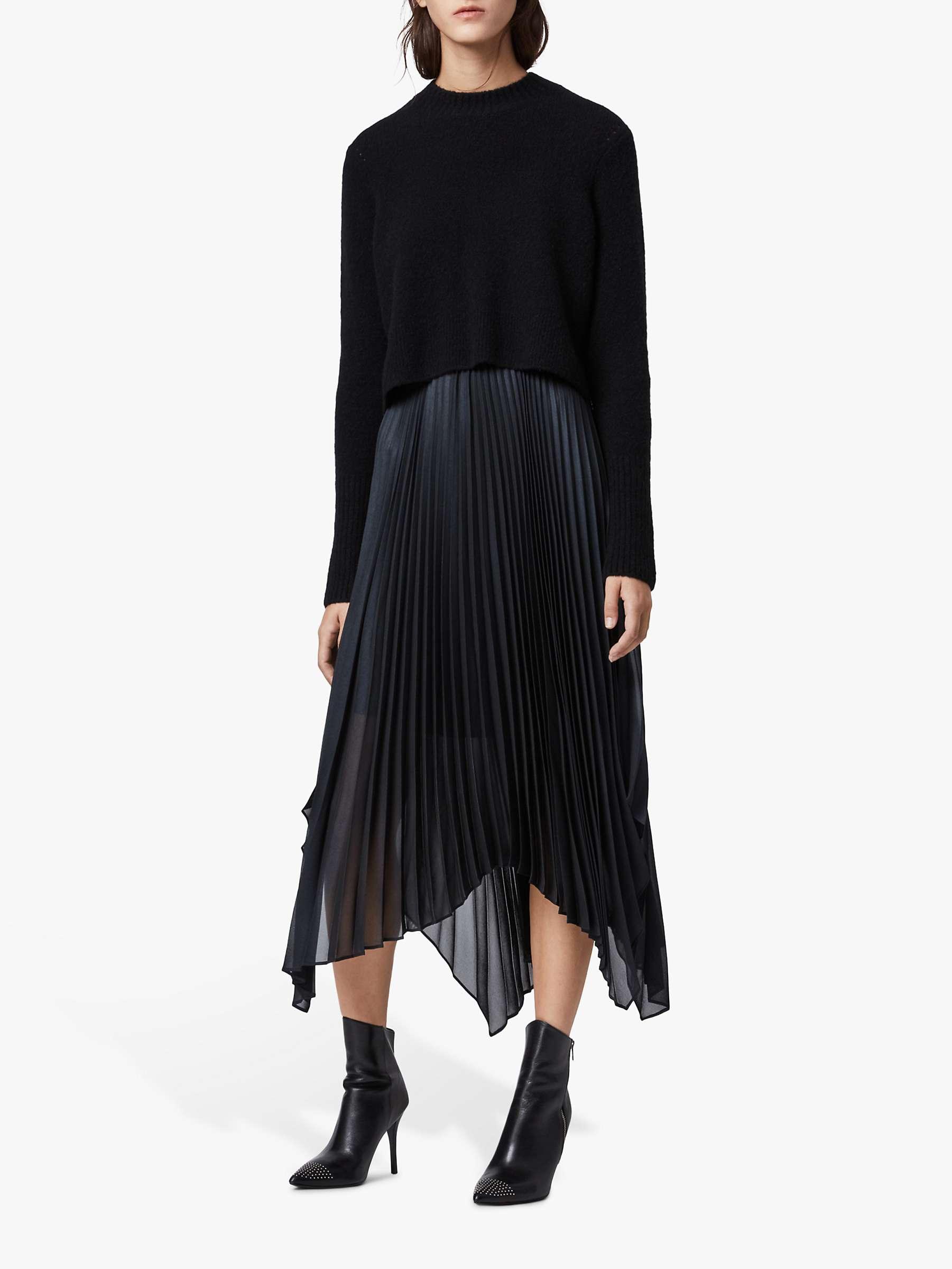 All Saints Lerin Jumper Knit Dress, Black/Ink by John Lewis