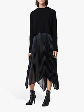AllSaints Lerin Jumper Knit Dress, Black/Ink