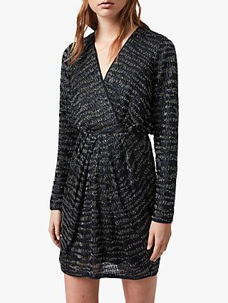 AllSaints Laney Embellished Dress, Ink Blue