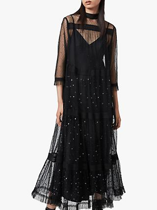 AllSaints Nima Embellished Maxi Dress, Black