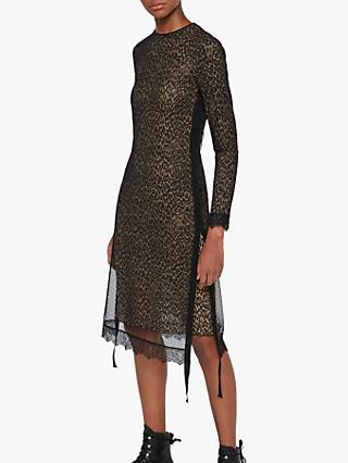 AllSaints Kiara Linleo Animal Print Dress, Taupe Brown