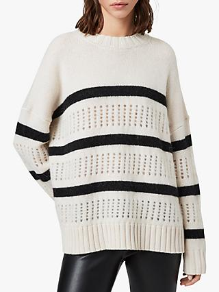 AllSaints Siddons Stripe Open Stitch Jumper, Ecru/Black