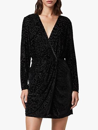 AllSaints Laney Devore Dress, Black