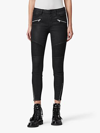 AllSaints Grace Cropped Biker Jeans, Coated Black