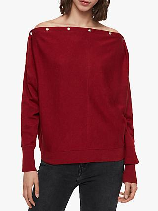AllSaints Elle Cowl Neck Jumper, Cranberry Red