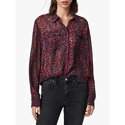 Image of AllSaints Adeliza Plume Print Shirt, Pink
