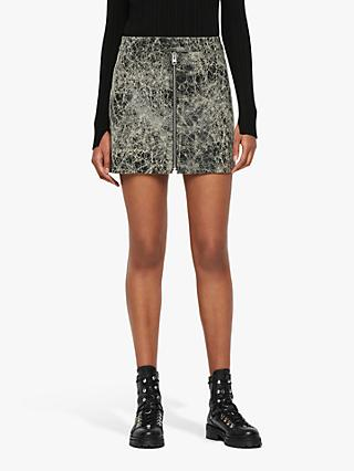 AllSaints Lena Rift Leather Skirt, Black/White