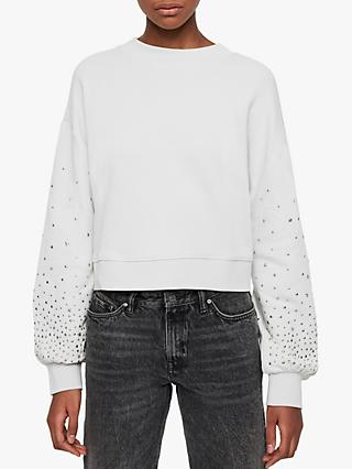 AllSaints Star Stud Crop Crew Neck Sweatshirt