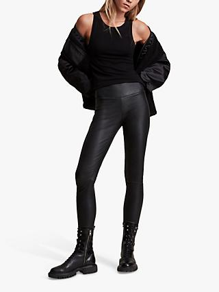 AllSaints Cora Leather Leggings, Black