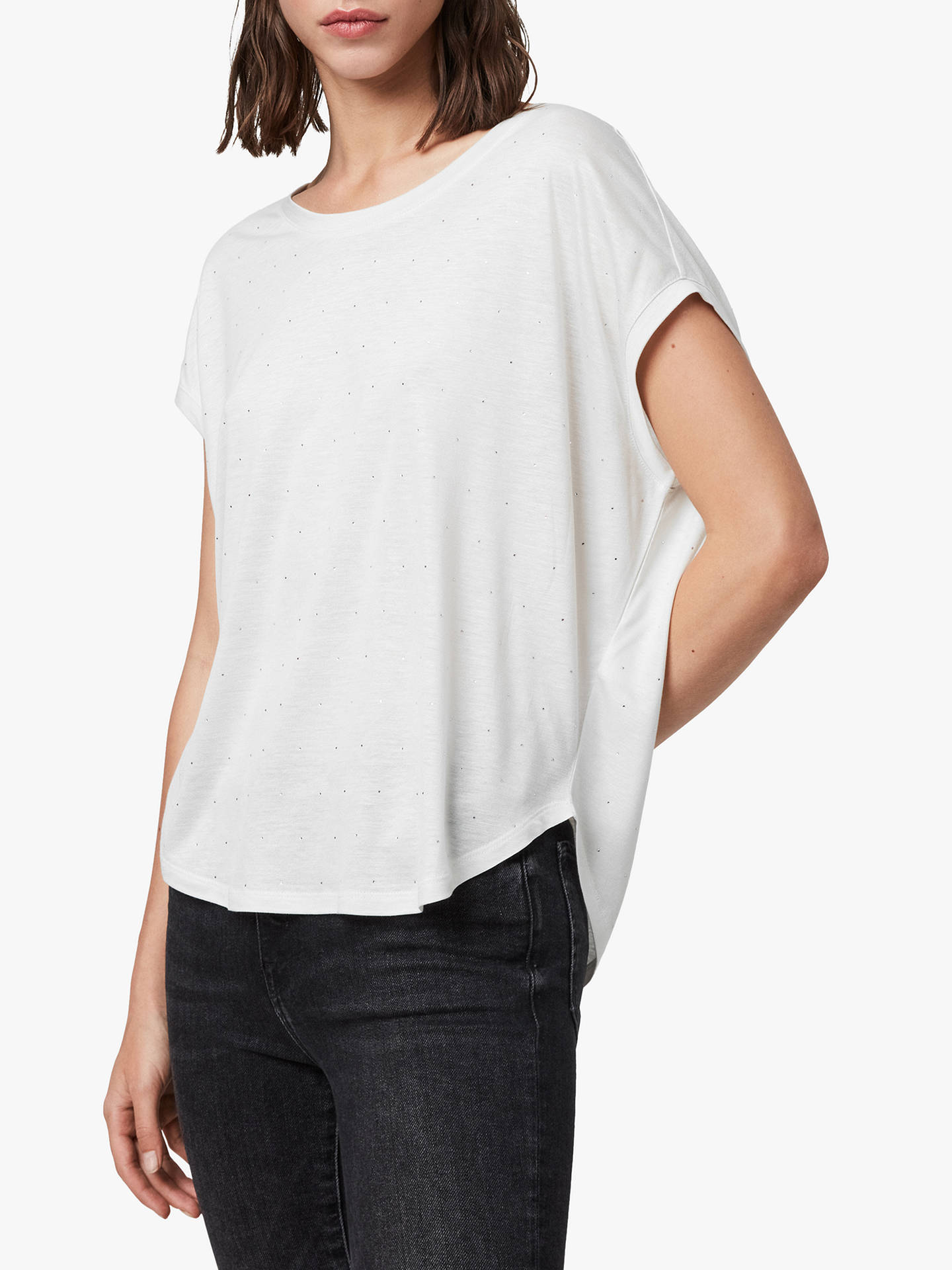 Buy AllSaints Brea Gem T-Shirt, Ivory White, XS Online at johnlewis.com