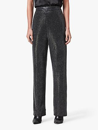 AllSaints Leanna Sequin Trousers, Gunmetal Grey