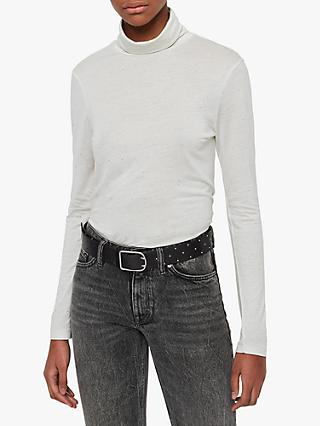 AllSaints Esme Gem Long Sleeve Roll Neck Top