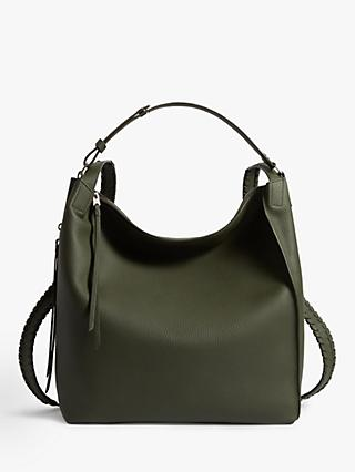 AllSaints Kita Leather Backpack, Khaki Green