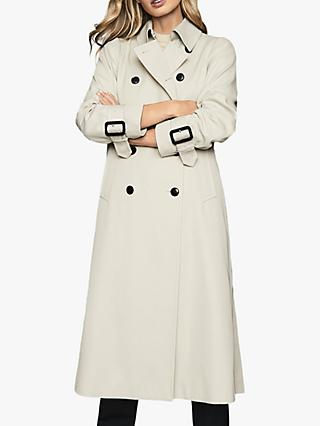 Reiss Pixie Pleat Detailed Trench Coat, Stone