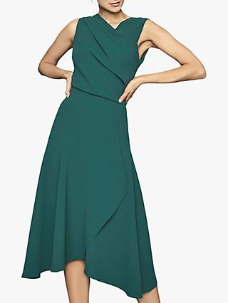 Reiss Marling Wrap Front Dress, Teal