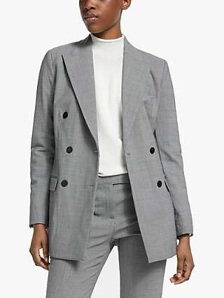Theory Double Breasted Check Tailored Blazer, Black/Multi