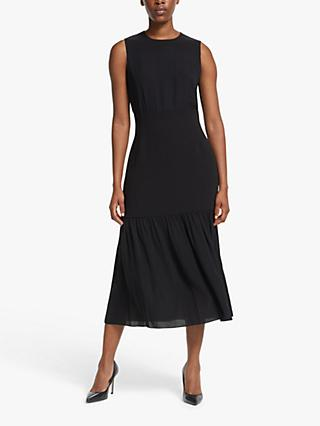 Theory Blouson Silk Midi Dress, Black