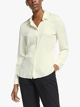 Theory Classic Core Fit Silk Shirt, Ivory