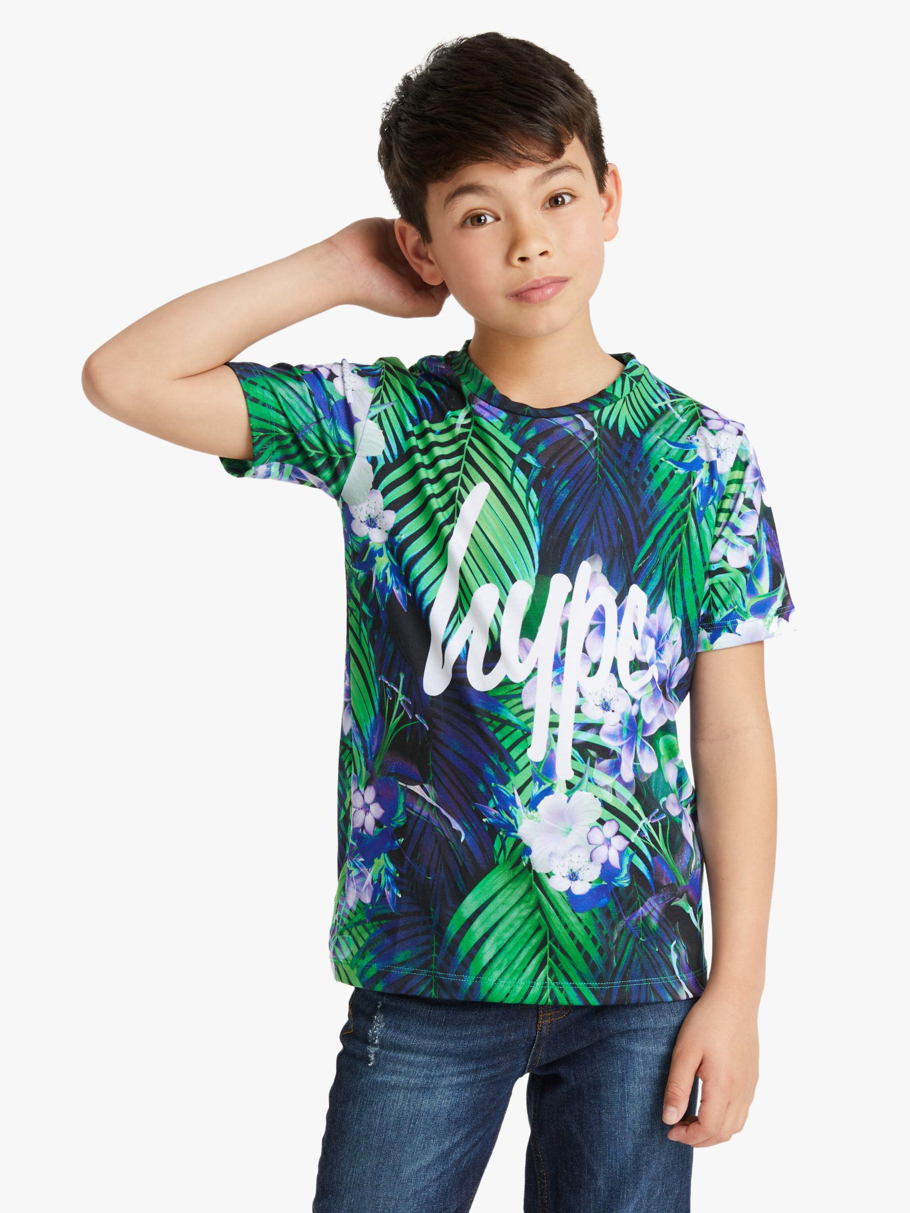 Hype Hype Boys' Tropical Print T-Shirt, Blue/Green