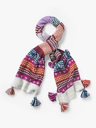 White Stuff Amelia Chunky Knit Scarf, Pink/Purple/Multi