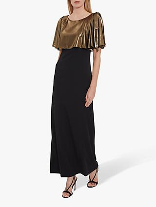 Gina Bacconi Brietta Metallic Chiffon Maxi Dress