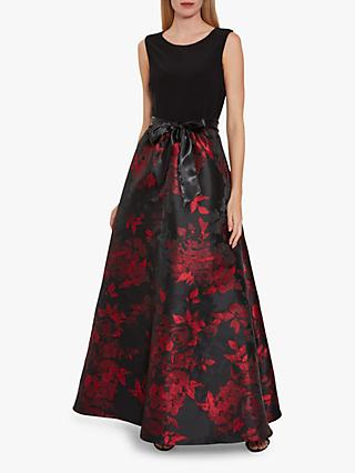 Gina Bacconi Issa Jacquard Floral Maxi Dress, Red/Black
