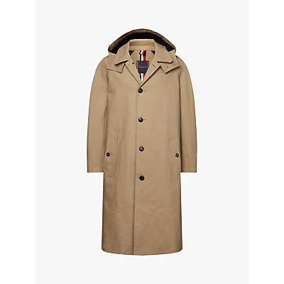 Tommy Hilfiger Bonded Cotton Hooded Raincoat, Camel
