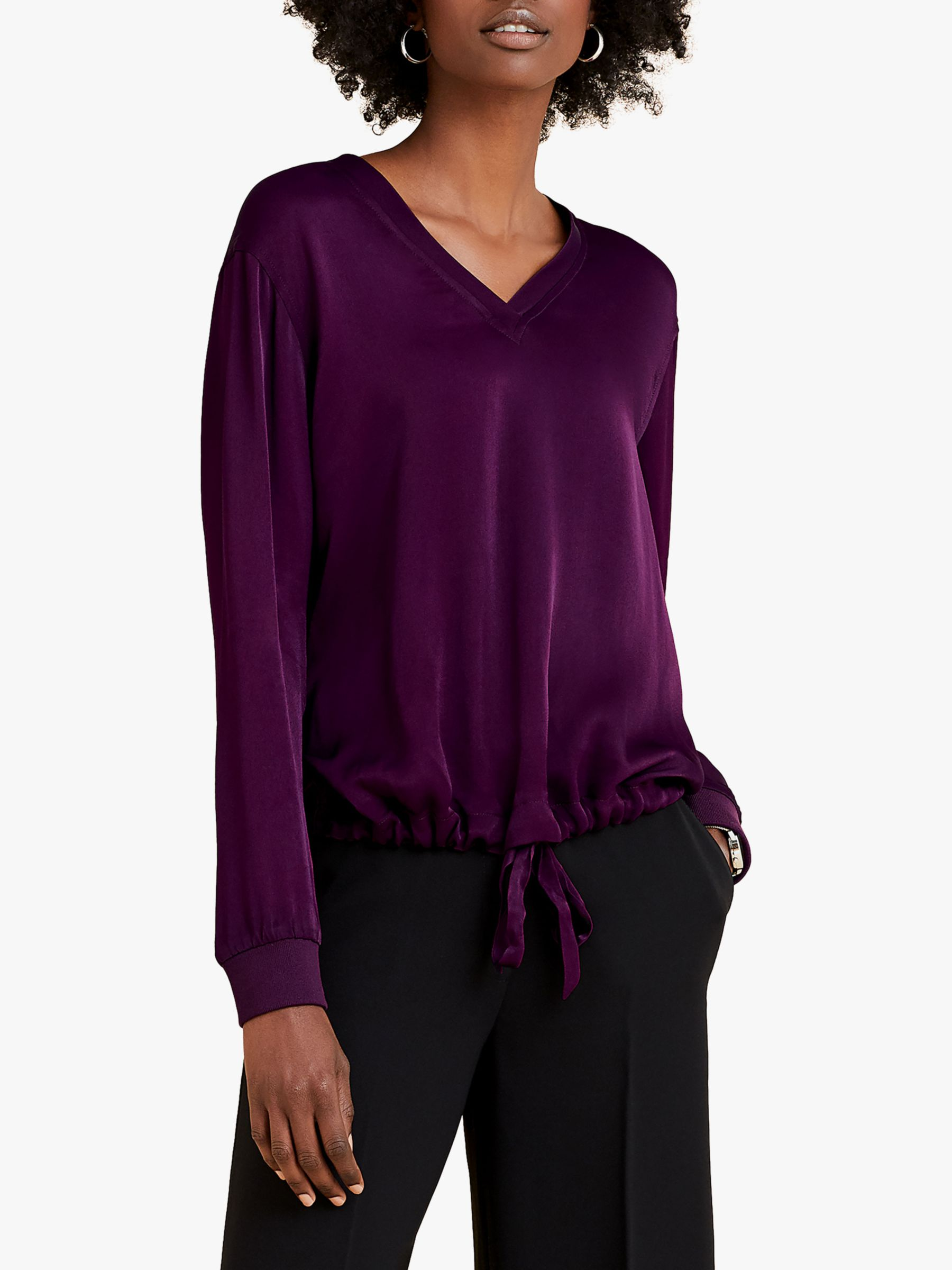 Pure Collection Pure Collection Satin V-Neck Sweatshirt, Damson