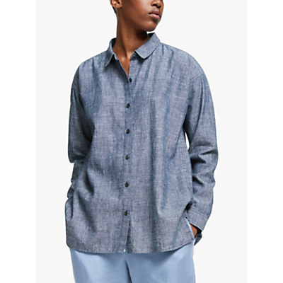 eileen fisher chambray linen shirt, denim