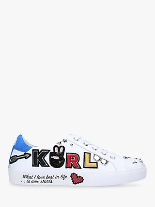 KARL LAGERFELD Skool Leather Lace Up Trainers, White