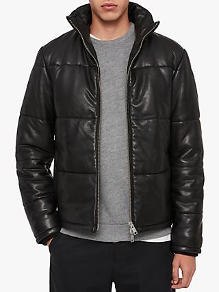 AllSaints Coronet Leather Puffer Jacket, Black