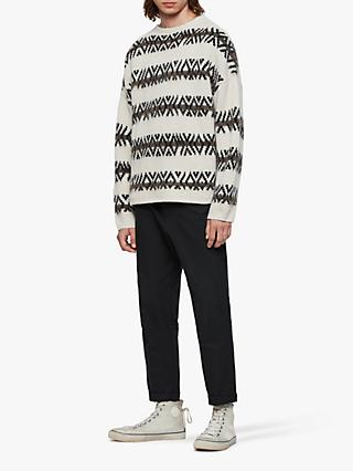 AllSaints Orvik Fair Isle Knit Jumper, Ecru/Black