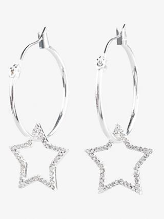 hush Mia Star Hoop Earrings, Silver