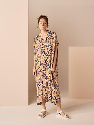 Kin Rie Takeda Ichogoichie Kaftan Dress, Natural/Multi