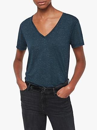 AllSaints Emelyn Shimmer T-Shirt, Teal Blue