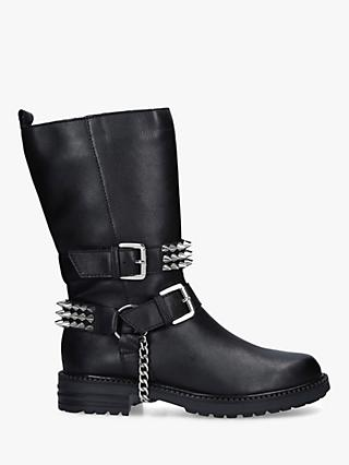 Carvela Savage Buckle Detail Stud Leather Calf Boots, Black