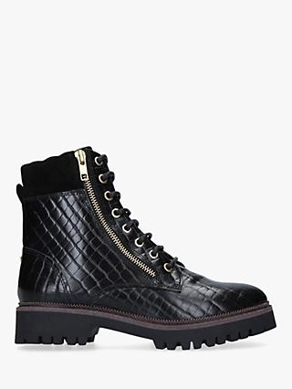 Carvela Suceed Leather Lace Up Hiker Boots, Black