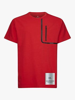 Calvin Klein Performance Relaxed Zip Detail T-Shirt, Flashing Red