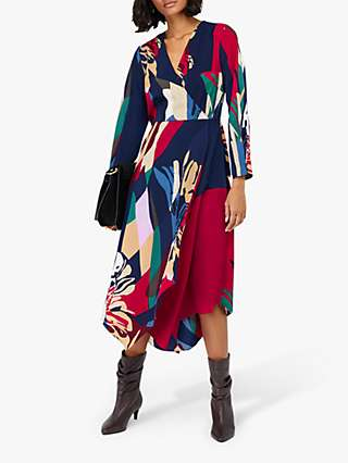 Monsoon Nalani Printed Midi Dress, Navy