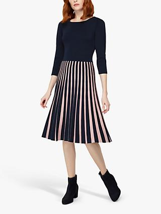 Monsoon Isobel Pleated Dress, Navy